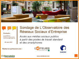 Sondage Accs mdias Sociaux ralis par l'Observatoire des rseaux sociaux entreprise