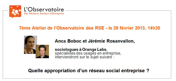 7eme Atelier Obs des RSE - quelle appropriation d'un RSE -